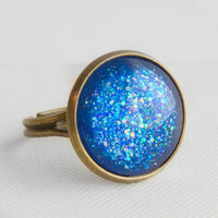 Blue Lagoon Ring in Antique Bronze - Blue Multicolor Glitter Ring