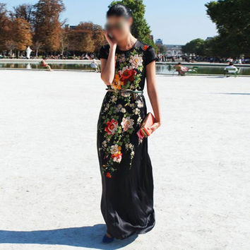 Vintage Ball Gown Print Women's Fashion One Piece Dress = 5893542209