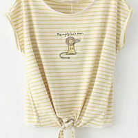 Yellow Striped Lion Embroidered Knotted Short Sleeve T-Shirt