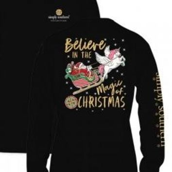 Simply Southern Magic Of Christmas Long Sleeve Tee- Black