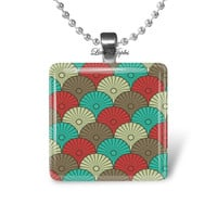 Scalloped Fans, glass tile necklace, geometric jewelry, retro pattern abstract art scrabble tile fish scale red teal brown beige autumn fall