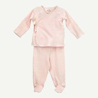 Pink Stripe 2-Piece Footed Set