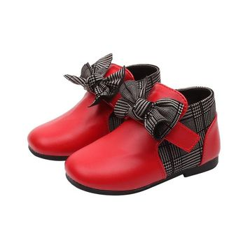 Mumoresip Girls Ankle Boots Princess Sweet Red Black Pink Color With Butterfly-knot Checkered Toddler Girl Kids Low-top Shoes