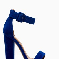 Blue Faux Suede Chunky Ankle Strap Heels @ Cicihot Heel Shoes online store sales:Stiletto Heel Shoes,High Heel Pumps,Womens High Heel Shoes,Prom Shoes,Summer Shoes,Spring Shoes,Spool Heel,Womens Dress Shoes