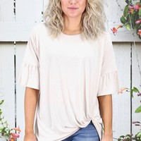 Get Twisted Ruffle Sleeves Modal Top {Ivory}