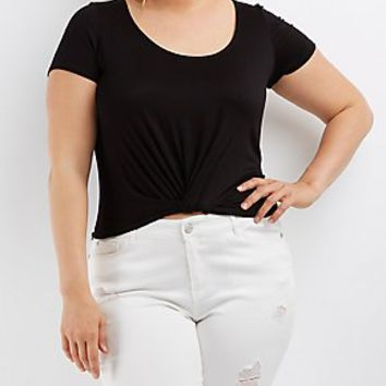PLUS SIZE TWISTED SCOOP NECK TOP