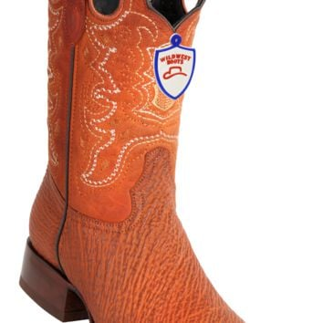 Wild West Boots Mens Full Vamp Sharkskin Square-Toe Western Boots Cognac