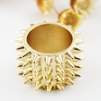 Gold Spike Stud Bangle Bracelet