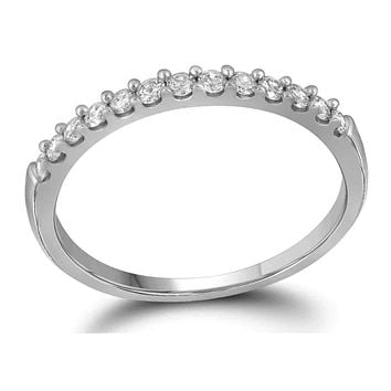 10kt White Gold Women's Round Pave-set Diamond Wedding Band 1/6 Cttw - FREE Shipping (US/CAN)