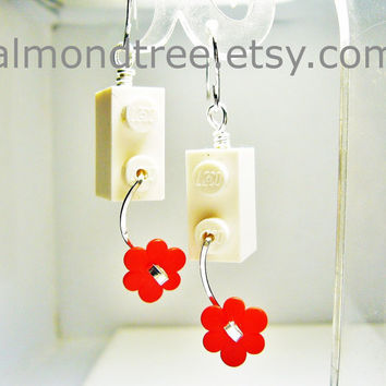 White n Red flowers fun lego earrings jewelry handmade id1340408 wirewrapped jewellery schmuck
