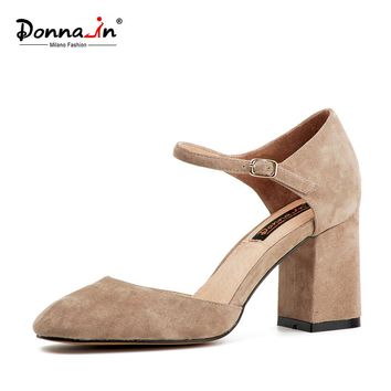 Donna-in Fashion Women's Shoes Square Heel Suede Show Thin Pumps Pointed Toe  Office Lady Shoes