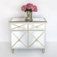 Claude Chest Side Table Mirrored Furniture Worlds Away Silver Crosshatch Design Storage Drawer Doors