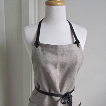 Full Apron - European Linen - Natural Color- Woman - Leather Ties - Leather Straps