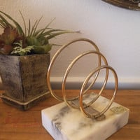 Marble and Gold Metal Paper holder / Paper Weight ~ Mid Century modern spiral Desk Organizer