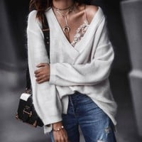 Deep V-neck Pure Color Loose Long Sleeves Women Pullover Sweater