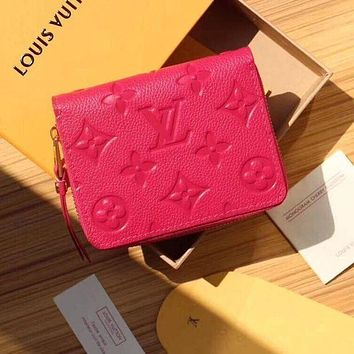 """Hot """"Louis Vuitton"""" LV Stylish Women Pure Color Leather Zipper Wallet Purse Rose Red I"""