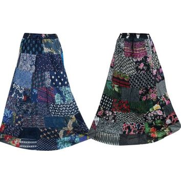 Mogul Lot Of 2 Womens Patchwork Skirt Vintage Printed Ethnic Swirl Style Long Skirts - Walmart.com