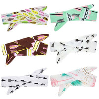 1PC DIY Baby Girls Bow Knot Floral Headband Hairband Rabbit Ear Feather Arrow Print Head Wrap Hair Band Accessories