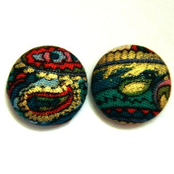 Button Earrings Abstract Colorful Gold Indie Boho Retro Vintage