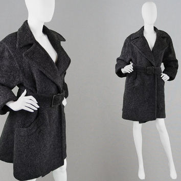 Vintage 80s JAEGER Womens Winter Coat Dark Grey Wool Mohair & Alpaca Coat Swing Coat Oversized Coat Swagger Coat Warm Fuzzy Coat Cocoon Coat