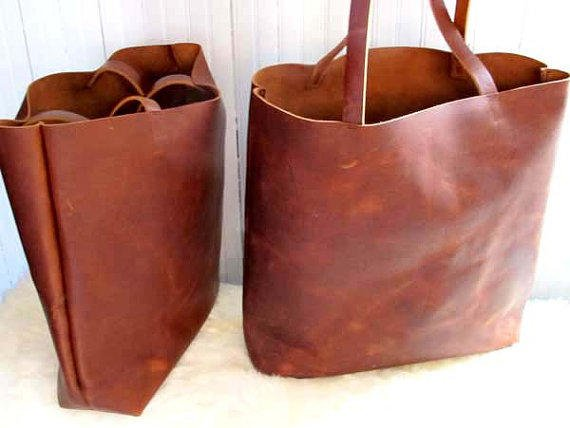 Brown Leather Tote Bag Distressed Travel Market