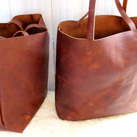 Brown Leather Tote Bag - Distressed Brown Leather Travel Bag - Leather Market bag