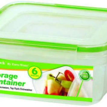 6-Pc Square Plastic Container W-Click & Lock Lid - CASE OF 24
