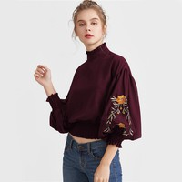 Embroidered Shirred Lantern Sleeve Tops