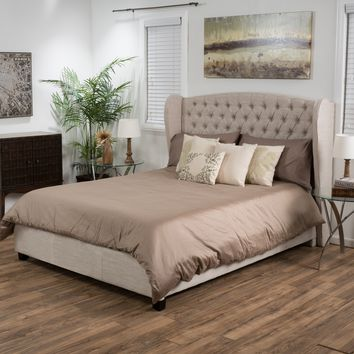 Denise Austin Home Lille Tufted Fabric Wingback Queen Bed Set