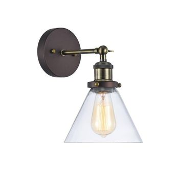 """Ironclad, Industrial-Style 1 Light Rubbed Bronze Wall Sconce 7"""" Wide"""