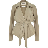Khaki cropped drape trench jacket - trench coats - coats / jackets - women