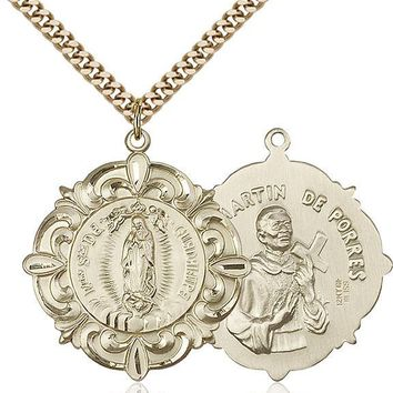 Men's 14K Gold Filled Our Lady Guadalupe Virgin Mary Medal Necklace Pendant 617759234480