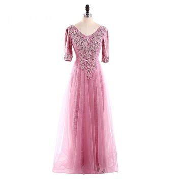 Prom Dresses A Line V Neck Half Sleeve Tulle Lace Up Back Appliques Prom Dress Party Gowns