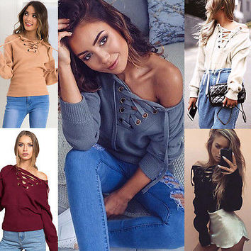 2016 New Casual Womens Pullover Jumper Long Sleeve Hoody Coat Sweatshirt Top Sexy