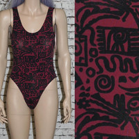 90s swimsuit one piece geo print purple black / grunge hipster boho festival gypsy pastel goth 70s bodysuit club kid top M L