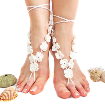 White Crochet Barefoot sandals, Barefoot Sandles, Beach Wedding, Boho, Crochet Anklet, Nude shoes, Yoga, Victorian Lace, Custom Order