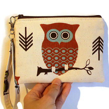 Padded pouch, cell phone pouch, gadget case, makeup case, purse organizer, in owl canvas fabric.