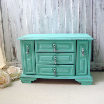 Aqua Blue Vintage Jewelry Box, Teal Distressed Wooden Jewelry Holder, Shabby Chic, Beach Cottage Jewelry Chest, Gift Ideas