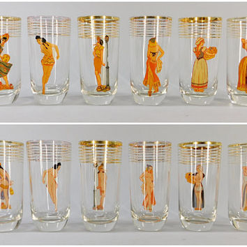 1940s Vintage / Peek-A-Boo Girl / 2-Sided Novelty Drink Glasses / Set of 6 / Risque Drink Glass / Nudie Girlie / Gold Band / Highball Glass