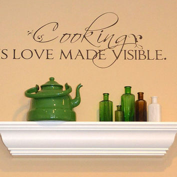 Wall Decal Quote Cooking is Love Made by singlestonestudios