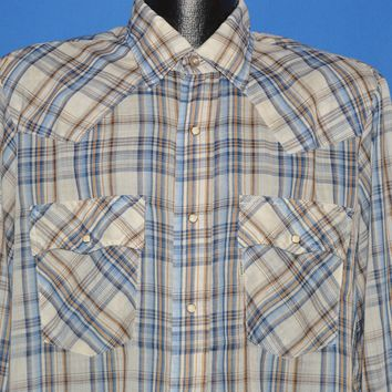 80s Levi's Plaid Cowboy Shirt Large