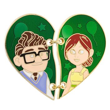 Disney Parks Up Carl and Ellie Stitched Half Heart Pin New with Card