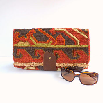 Big Woven Clutch - Rust Brown Brass Button Red Boho Leather Purse Wool Hand Stitched Large Kilim Clutch Boxy Fringe