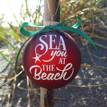 Christmas Ornament,Christmas Decorations,Coastal Home Decor,Holiday Decor,Red Ornaments,Custom Ornament,Beach Quotes,Mermaids,Tree Decor