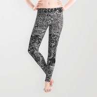 Sensory Overload Skull Leggings by Kristy Patterson Design | Society6