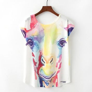 Cute Giraffe Watercolor Paint T-Shirts