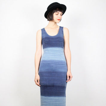Vintage 90s Dress Blue Ombre Dress Maxi Dress 1990s Dress Club Kid Dress Bandage Dress Bodycon Dress Grunge Dress Gradient S Small M Medium