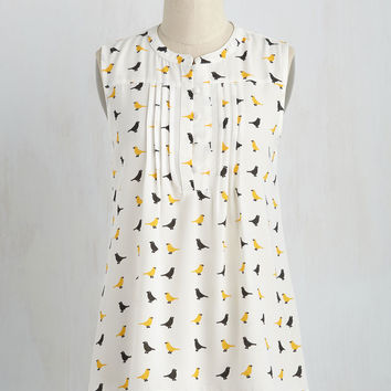Freelance for the Taking Top in Birds | Mod Retro Vintage Short Sleeve Shirts | ModCloth.com