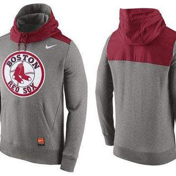 Boston Red Sox Nike MLB Gray/red Ultra Pullover Hoodie