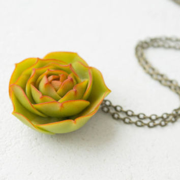 Green Succulent Pendant Wholesale Planter Unusual Pendant Small Succulent Plants Arrangement Succulent Jewelry Wedding Bridal Birthday Gifts